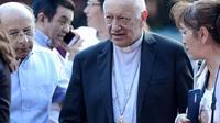 Le cardinal chilien Riccardo Ezzati, dont le pape Français a accepté la démission, fait ses adieux au collège de la Congrégation des Sacrés-Coeurs à Santiago, le 23 mars 2019 [Matias Delacroix / AFP]