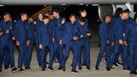 Neymar et le Brésil, à leur arrivée à Sotchi le 11 juin 2018, vont enfin enfiler le maillot [Nelson ALMEIDA / AFP]