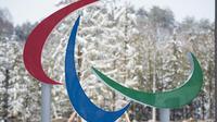 Le symbole des Jeux paralympiques d'hiver de Pyeongchang à l'entrée du village des athlètes, le 6 mars 2018 [Joel MARKLUND / OIS/IOC/AFP/Archives]