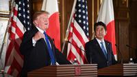 Le président américain Donald Trump (g) et le Premier ministre japonais Shinzo Abe lors d'une conférence de presse, le 6 novembre 2017 à Tokyo  [JIM WATSON  / AFP]