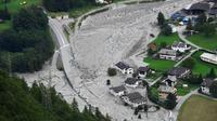 Photo prise le 24 août du village de Bondo en Suisse après un glissement de terrain [MIGUEL MEDINA / AFP/Archives]