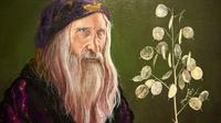"""Détail d'une peinture du professeur Dumbledore dans l'exposition """"Harry Potter: A History of Magic"""", à Londres le 18 octobre 2017 [NIKLAS HALLE'N / AFP]"""