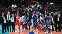 Les Français se qualifient pour les demi-finales de l'Euro de volley en battant l'Italie 3-0 à Nantes le 24 septembre 2019 [LOIC VENANCE / AFP]