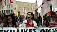 Manifestation contre la réforme des retraites à Athènes, le 8 mai 2016 [ANGELOS TZORTZINIS / AFP]