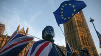 Un partisan pro-européen lors d'une manifestation devant le parlement à Londres le 18 décembre 2017 [Daniel LEAL-OLIVAS / AFP]