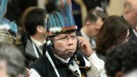 Un indien de la forêt amazonienne lors de la conférence sur le climat au Bourget près de Paris, le 4 décembre 2015  [STEPHANE DE SAKUTIN / POOL/AFP]
