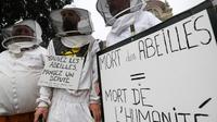 Des apiculteurs lancent un cri d'alarme sur le déclin des abeilles à Strasbourg, le 7 juin 2018 [FREDERICK FLORIN / AFP]