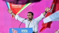 Le Premier ministre grec Alexis Tsipras lors d'un meeting de campagne à Athènes, le 5 juillet 2019 [LOUISA GOULIAMAKI  / AFP]
