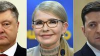 Les trois candidats à la présidentielle en Ukraine, le président Petro Poroshenko, l'ex-Première ministre Ioulia Timochenko et le comédien Volodymyr Zelensky dans un photomontage réalisé à Paris le 27 mars 2019 [Petras Malukas, Sergei SUPINSKY / AFP/Archives]