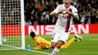 L'ailier argentin du PSG Angel Di Maria exulte après le premier de ses deux buts contre le Real Madrid, le 18 septembre 2019 au Parc des Princes [Thomas SAMSON / AFP]