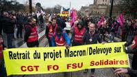 Manifestation contre la réforme des retraites, à Nantes,le 10 décembre 2019 [Loic VENANCE / AFP]