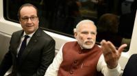 Le président François Hollande et le Premier ministre indien Narendra Modi se rendent en métro à Gurgaon le 25 janvier 2016 à New Delhi [STEPHANE DE SAKUTIN / AFP]