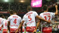 Les joueurs de Reims vainqueurs de Lyon en ouverture de la 2e journée de L1 le 17 août 2018 [FRANCOIS NASCIMBENI / AFP]