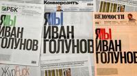 """Les Unes de trois principaux journaux russes clamant """"Je suis, nous sommes Ivan Golounov"""", le 10 juin 2019, en soutien au journaliste arrêté [Yuri KADOBNOV / AFP]"""
