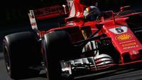 L'Allemand Sebastian Vettel (Ferrari) lors des des qualifications pour le  Grand Prix du Mexique, le 28 octobre 2017 à Mexico City [Mark Thompson / Getty/AFP]