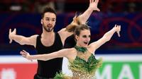 Les danseurs sur glace français Gabriella Papadakis et Guillaume Cizeron lors de leur programme court aux Mondiaux, le 23 mars 2018 à Milan  [MIGUEL MEDINA / AFP]