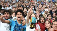 Des supporters de l'OM pendant le match contre Salzbourg, retransmis au Vélodrome, le 3 mai 2018 [Boris HORVAT                         / AFP]