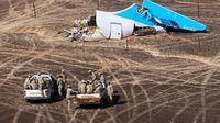 Une photo diffusée par le ministère russe des Situations d'urgence montre les débris du vol A321 dans une région montagneuse du Sinai le 1er novembre 2015 [MAXIM GRIGORYEV / RUSSIA'S EMERGENCY MINISTRY/AFP]