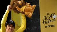Geraint Thomas en jaune, le 28 juillet 2018 à Espelette [Marco BERTORELLO / AFP]