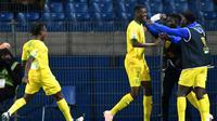 L'attaquant malien de Nantes Kalifa Coulibaly (c) buteur lors de la victoire 3-0 à Montpellier en ouverture des 16e de finale de la Coupe de la Ligue le 30 octobre 2018 [PASCAL GUYOT / AFP]