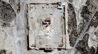 Image satellite fournie le 31 août 2015 par l'ONU du temple de Bêl dans l'antique cité de Palmyre, en Syrie  [ / UNITAR-UNOSAT/AFP]