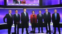 Les 7 candidats Francois de Rugy, Manuel Valls, Arnaud Montebourg, Sylvia Pinel, Benoit Hamon, Vincent Peillon et Jean-Luc Bennahmias lors du dernier débat télévisé le 19 janvier 2017 à Paris [Eric FEFERBERG / POOL/AFP]