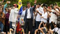 Le leader de l'opposition vénézuélienne Juan Guaido lors d'une manifestation à Caracas le 11 mai 2019 [RONALDO SCHEMIDT / AFP]