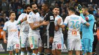 Incidents à l'issue du match entre l'OM et l'OL, impliquant notamment  le défenseur marseillais Adil Rami et le gardien lyonnais Anthony Lopes, le 18 mars 2018 à Marseille [ANNE-CHRISTINE POUJOULAT / AFP/Archives]