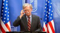 Photo de John Bolton, conseiller à la sécurité nationale du président américain, lors d'une conférence de presse le 22 août 2018 à Jérusalem [Sebastian Scheiner / POOL/AFP]