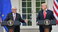 Le président américain Donald Trump avec le président de la Commission européenne Jean-Claude Juncker à la Maison Blanche, le 25 juillet 2018 [SAUL LOEB / AFP]