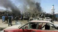 Vue générale d'un marché dans le district d'Urgun (Afghanistan) où un attentat a fait au moins 25 morts, le 15 juillet 2014 [Pajhwook News Agency / PAJHWOK NEWS AGENCY/AFP]