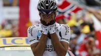 Le Français Christophe Riblon célèbre son succès dans la 18e étape du Tour de France, le 18 juillet 2013 à l'Alpe d'Huez [Jeff Pachoud / AFP]