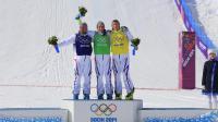 Les Français Arnaud Bovolenta (g), Jean Frederic Chapuis (c) et Jonathan Midol sur le podium après l'épreuve de skicross aux JO, le 20 février 2014 à Rosa Khoutor [ / AFP]