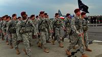 Les premières troupes américaines arrivent à Swidwin en Pologne le 23 avril 2014 [Janek Skarzynski / AFP]