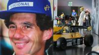 Une photo montre Ayrton Senna pour l'exposition qui lui est consacrée à l'occasion du 20e anniversaire de sa mort, à Imola, le 1er mai 2014 [Mauro Monti / AFP]