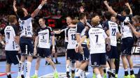 Les joueurs de Flensburg célèbrent leur vicotoire en finale de la Ligue des Champions de  handball, le 1er juin 2014 à à Cologne. [Marius Becker / DPA/AFP]