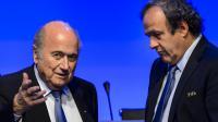 Le président de la Fifa Joseph Blatter avec le président de l'UEFA Michel Platini, le 1 juin 2014 à Sao Paulo, au Brésil. [Fabrice Coffrini / AFP]