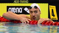 Jérémy Stravius après sa deuxième place de la finale du 100 m dos, lors des Championnats d'Europe de natation, le 19 août 2014 à Berlin. [John MacDougall / AFP/Archives]