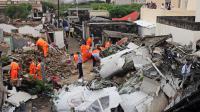 Les débris de l'avion de TransAsia Airways qui s'est écrasé le 23 juillet 2014 près de l'aéroport de Magong, sur une île de l'archipel de Penghu, faisant 48 victimes, dont 2 jeunes françaises [Sam Yeh / AFP/Archives]