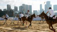 Des cavaliers jouent au polo à Dalian, dans le nord de la Chine, le 5 juillet 2014 [Johannes Eisele / AFP]