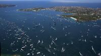 Vue aérienne du port de Sydney lors du départ de la course à la voile Sydney-Hobart, le 26 décembre 2013 [Andrea Francolini / anfrancolini.com/AFP]