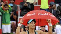 La Française Caroline Garcia après sa victoire en finale du tournoi de Bogota, le 13 avril 2014 [Guillermo Legaria / AFP/Archives]
