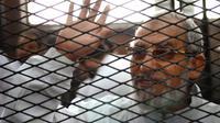 Le guide suprême des Frères musulmans égyptiens, Mohamed Badie, durant son procès au Caire le 3 février 2014 [Ahmed Gamil / AFP/Archives]