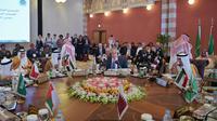 Le secrétaire d'Etat américain à la Défense Chuck Hagel (c) s'exprime lors d'une réunion avec les ministres de la Défense du Conseil de coopération du Golfe, el 14 mai 2014 à Jeddah, en Arabie Saoudite [Mandel Ngan / Pool/AFP]