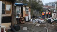 Un campement où vivaient quelque 800 Roms à Saint-Ouen, près de Paris, après son évavuation par la police le 27 novembre 2013 [Kenzo Tribouillard / AFP]