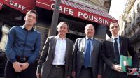 """De gauche à droite, Ludovic Badeau, porte-parole des """"Poussins"""", Aurélien Salle, directeur-adjoint de l'Union des Auto-Entrepreneurs (UAE), l'ancien secrétaire d'Etat chargé des PME, Hervé Novelli et Grégoire Leclercq, président de la Fédération des Auto-Entrepreneurs (Fedae), le 5 juin 2013, à l'issue d'une conférence de presse à Paris  [ERIC PIERMONT / AFP/Archives]"""