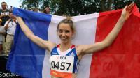 La Français Marie-AMélie Le Fur après sa médaille d'argent au concours de la longueur aux Mondiaux handisport d'athlétisme, le 24 juillet  2013, à Lyon [Philippe Merle / AFP]