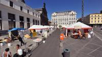 Des tentes érigées pour abriter des familles sans abri, dans le centre de Clermont-Ferrand, le 5 septembre 2013 [Thierry Zoccolan / AFP]