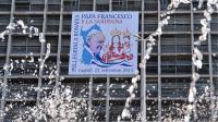 Le portrait du pape François sur un immeuble de Cagliari,  le 21 septembre 2013 en Sardaigne [Alberto Pizzoli / AFP]