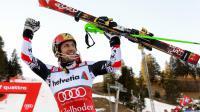L'Autrichien Marcel Hirscher après sa victoire dans le slalom d'Adelboden le 12 janvier 2013 [ / AFP]